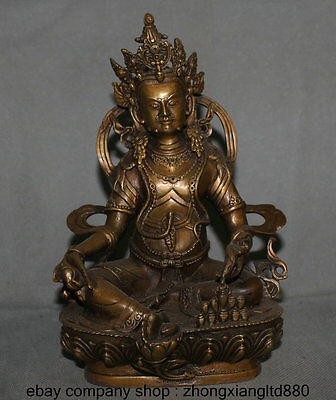 "9"" Tibet Buddhist Temple Copper Yellow Jambhala Wealth God Immortal Mice Statue"