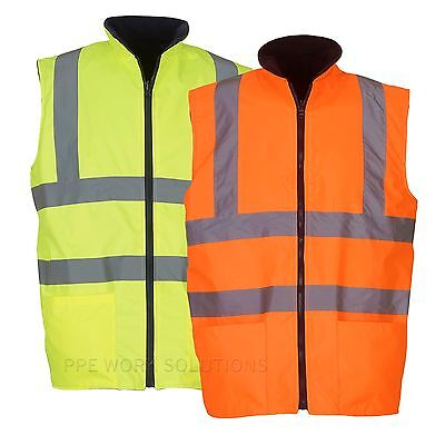 Yoko Hi Vis Reversible Fleece Waistcoat Bodywarmer Waterproof Gilet (HV008F)