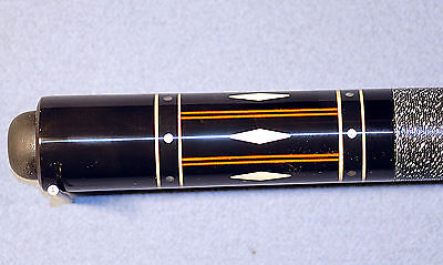 Helmstetter 2pc Pool Cue Rare Vintage custom signed Cuestick all Inlaid Design