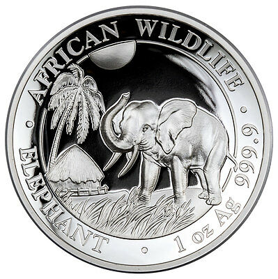 2017 Somalia 1 oz. High Relief Silver African Elephant Proof S100 OGP SKU45729