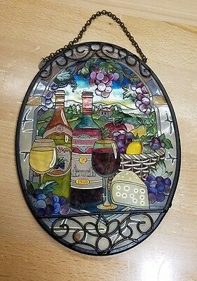 AMIA STAINED GLASS SUNCATCHER 6.5 X 9 OVAL WINE GREAT VINTAGE grapes cheese