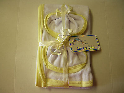 "Hooded Towel & 2 Washcloths By Baby King, White & Yellow , 21"" x 28"", Brand New"