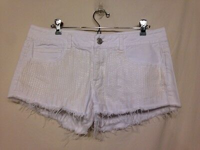 Women's White Sequined American Eagle Outfitters Cut Off Shorts-Size 12