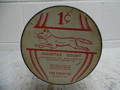 Vintage Fox Candy Company 1 Cent Candy Barrel Jar, Augusta, GA.