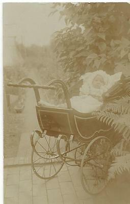 Baby In The Garden In A Fabulous Pram - Vintage Real Photo Postcard