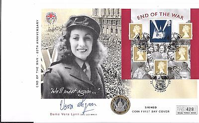 2005 £2 Scarce Unc Proof Two Pound Coin Cover Fdc End Of War Signed Vera Lynn