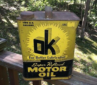 """better Lubrication"" Motor Oil Can Advertsing  Two Gallon Decor Vintage Antique"