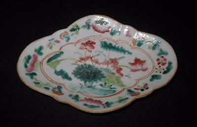 """Asian Pottery Water Flower Scene, Footed Oval Plate Dish, 8 1/2"""" by 5 7/8"""""""