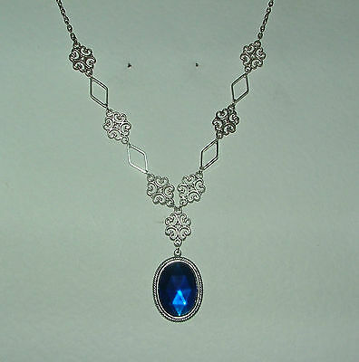 Lacy Filigree Victorian Style Deep Blue Crystal Dark Silver Pl Pendant Necklace