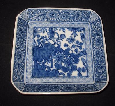 """Asian Pottery White & Blue, Flowers & Bird, SIGNED Square Plate Dish, 6"""""""