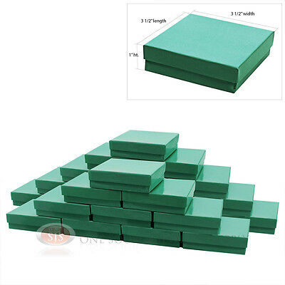 """25 Teal Blue Cotton Filled Jewelry Gift Boxes 3 1/2"""" x 3 1/2"""" Bracelet Charm Box"""