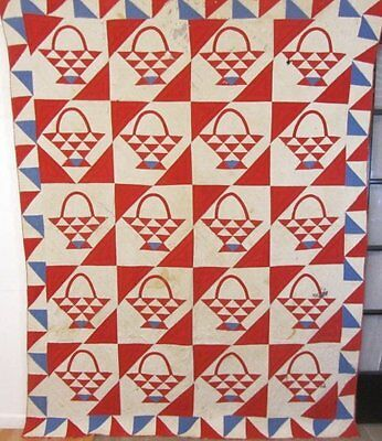 Patriotic c 1900s Basket Antique Quilt RED White BLUE make the pattern