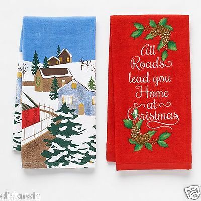 "2 St. Nicholas Square Kitchen Dish Towels ""All Roads lead you Home at Christmas"""