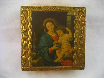 Gold Gilt Gesso Wood Italian Tole Florentine Madonna Religious Small Box 3 x 3