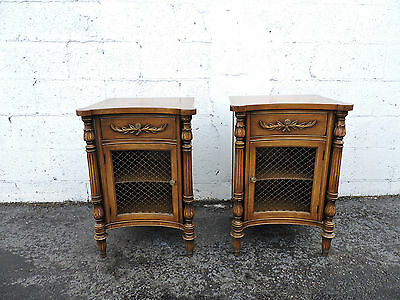 Pair of French Tall Mahogany Nightstands End Side Table 8133