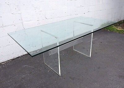 Mid-Century Modern Lucite Glass-Top Desk Dining Table 7678