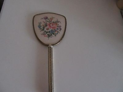 "Vintage Gold  Tone  Hand Mirror With Embroidered Back Detail 12""long"
