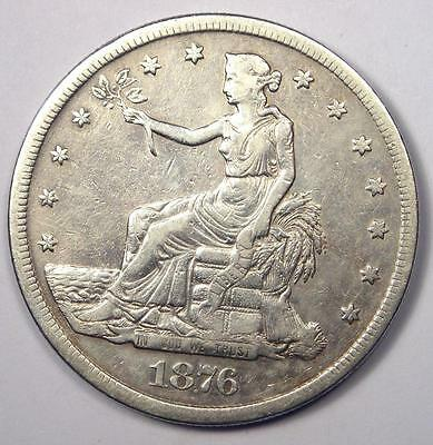 1876-S Trade Silver Dollar T$1 - Sharp Details - Rare Early Type Coin!