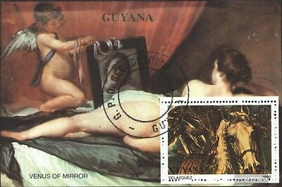 Guyana block99 (complete issue) used 1990 Paintings