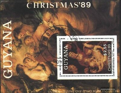 Guyana block73 (complete issue) used 1989 christmas: Paintings