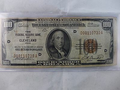 1929 $100 National Currency Cleveland Ohio VG - No Reserve!