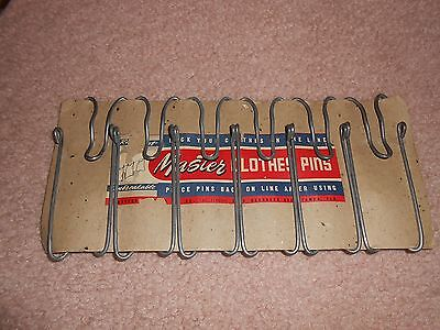 Old 6 Metal Master Clothes Pins Industrial On Storecard Advertising