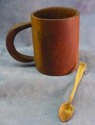 Hand carved wooden mug and spoon