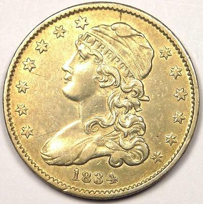 1834 Capped Bust Quarter 25C - AU Details - Rare Early Date Type Coin!