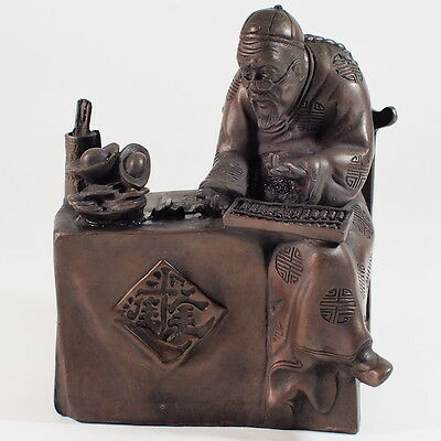 "Vintage Chinese Bronze ""Accountant"" Statue"