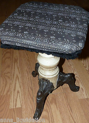 Antique Victorian Piano Stool Cast Iron & Wood Upholstered Seat Bench