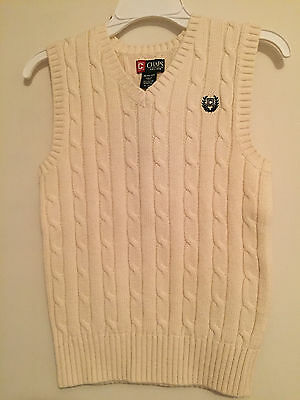 Nwt~Boys Solid Cream V-Neck Cable Knit Sweater Vest Size M Medium  (10-12)~Nwt