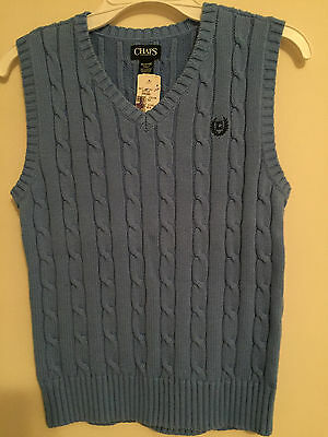 Nwt~Boys Solid Blue V-Neck Cable Knit Sweater Vest Size M Medium  (10-12)~Nwt