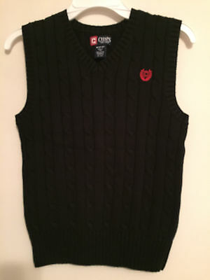 Nwt~Boys Solid Black V-Neck Cable Knit Sweater Vest Size M Medium  (10-12)~Nwt