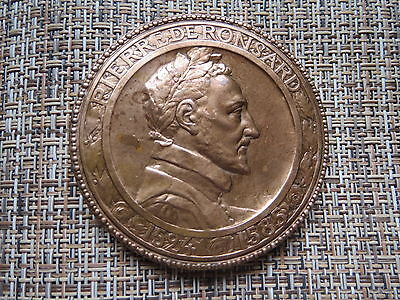 Pierre De Ronsard French Poetry Bronze Medal by Dautel