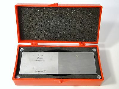 "2 Pc Starrett Webber 2"" Rectangular Gauge / Gage Block Set In Case"
