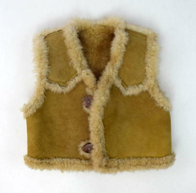 Vtg Luxe Tan Sheep Skin & Plush Wool Fur Shearling Western Vest Kids Childrens