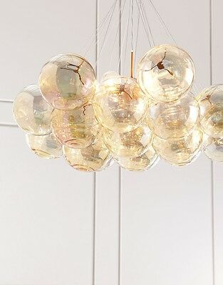 Horchow Mid Century Modern Regency Industrial Globe Orb Pendant Chandelier Gold