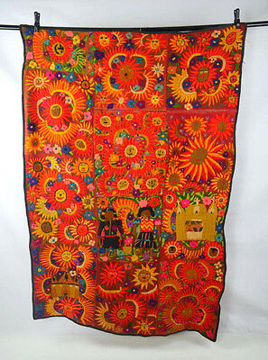 Vtg Crazy South American Embroidered Patchwork Quilt Tapestry Textile Wall Art