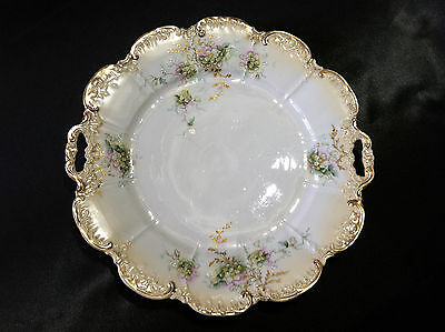 """Gorgeous 9.5"""" Antique Cake Plate~Hand-Painted Floral Motif~Lots of Gold Accents!"""
