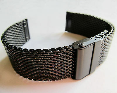 BLACK STEEL WATCH BRACELET Chainmail Snake Mesh 18 20 22mm Quality Strap Band