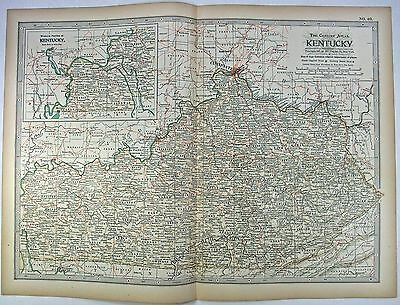 Original 1897 Map of Kentucky by The Century Company