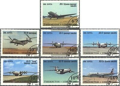 Uzbekistan 77-83 (complete issue) used 1995 Aircraft out tschka