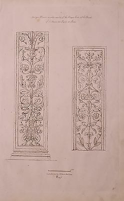 1825 Etching Print Antique Pilasters White Marble Cinque Cento Church St Martin