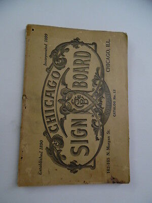 c.1902 CHICAGO SIGN BOARD COMPANY Catalog Wooden Signs Letters Signage Antique