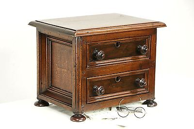Carved Walnut 1870 Antique Jewelry Chest or Collector Cabinet