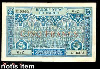 riotis item 4494: RARE MOROCCO 5 FRANCS 1924 P-9, FRANCE, SPAIN