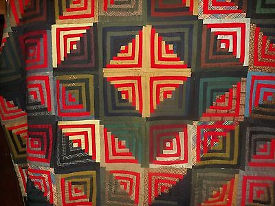 Antique Log Cabin Quilt Top Sunshine and Shadow Excellent Condition