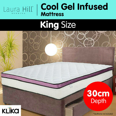 New King Mattress Visco COOL GEL INFUSED Memory Foam Euro Top Pocket Spring 30cm