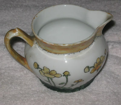 Antique China Creamer White & Gold with Flowers - Stamped  Z. S. & C. Bavaria