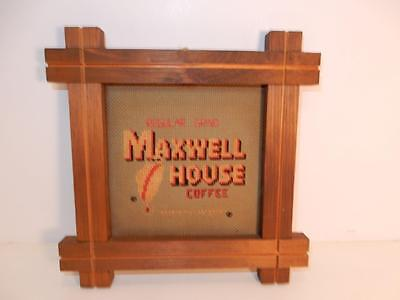 vintage Maxwell House Coffee old advertising in neat wood frame needlepoint